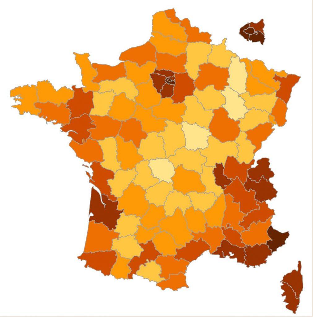 La carte de la France.