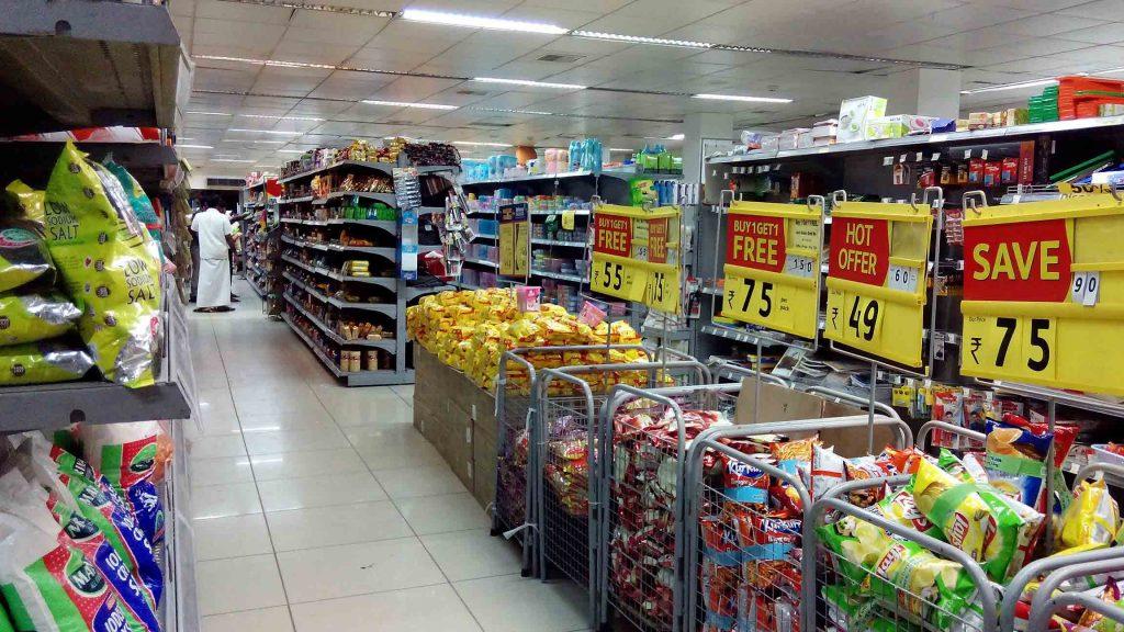 Un exemple de rayon dans une grande surface de vente au détail